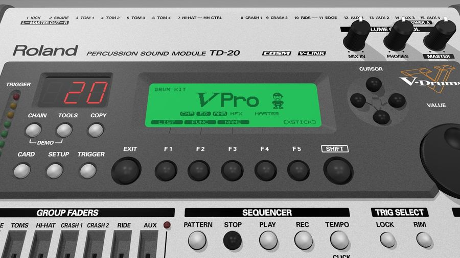 Electronic Drum Kit: Roland V-Drums TD20 royalty-free 3d model - Preview no. 28
