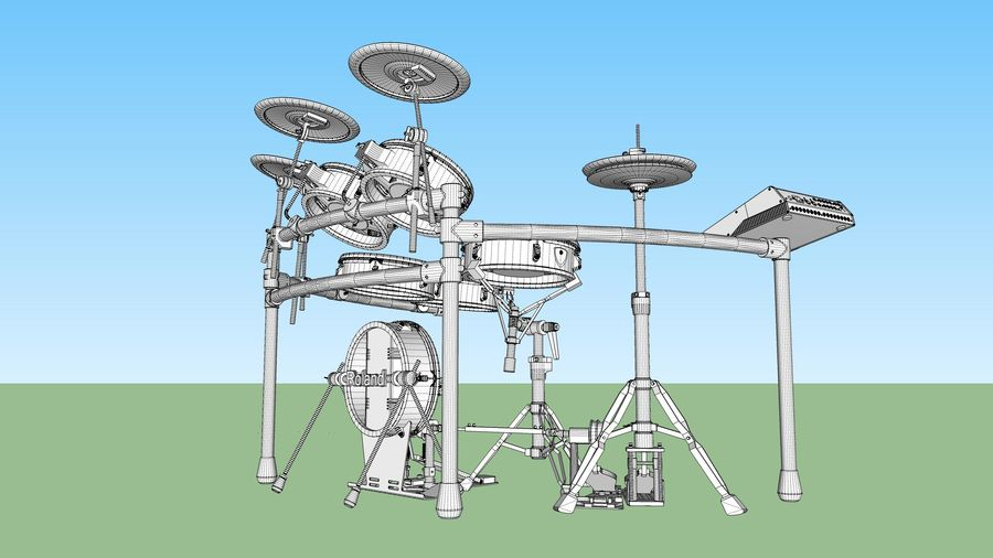 Electronic Drum Kit: Roland V-Drums TD20 royalty-free 3d model - Preview no. 48