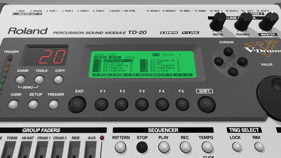 Electronic Drum Kit: Roland V-Drums TD20 royalty-free 3d model - Preview no. 41