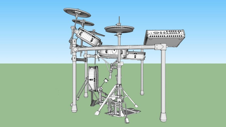 Electronic Drum Kit: Roland V-Drums TD20 royalty-free 3d model - Preview no. 43