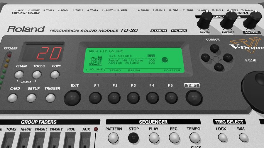 Electronic Drum Kit: Roland V-Drums TD20 royalty-free 3d model - Preview no. 39