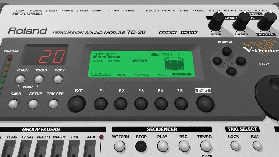 Electronic Drum Kit: Roland V-Drums TD20 royalty-free 3d model - Preview no. 36
