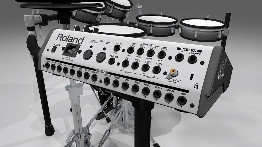 Electronic Drum Kit: Roland V-Drums TD20 royalty-free 3d model - Preview no. 21