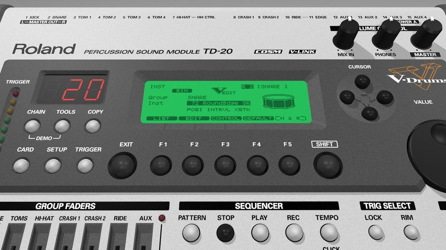 Electronic Drum Kit: Roland V-Drums TD20 royalty-free 3d model - Preview no. 35