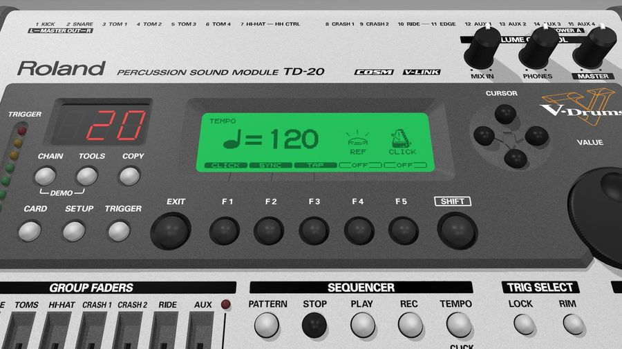 Electronic Drum Kit: Roland V-Drums TD20 royalty-free 3d model - Preview no. 29