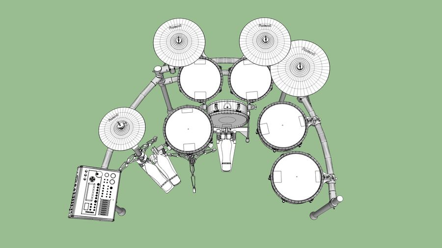 Electronic Drum Kit: Roland V-Drums TD20 royalty-free 3d model - Preview no. 46