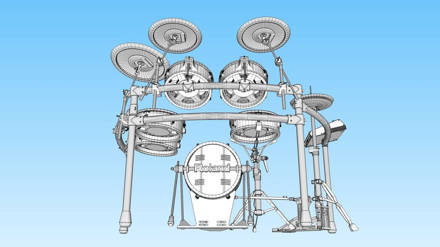 Electronic Drum Kit: Roland V-Drums TD20 royalty-free 3d model - Preview no. 47