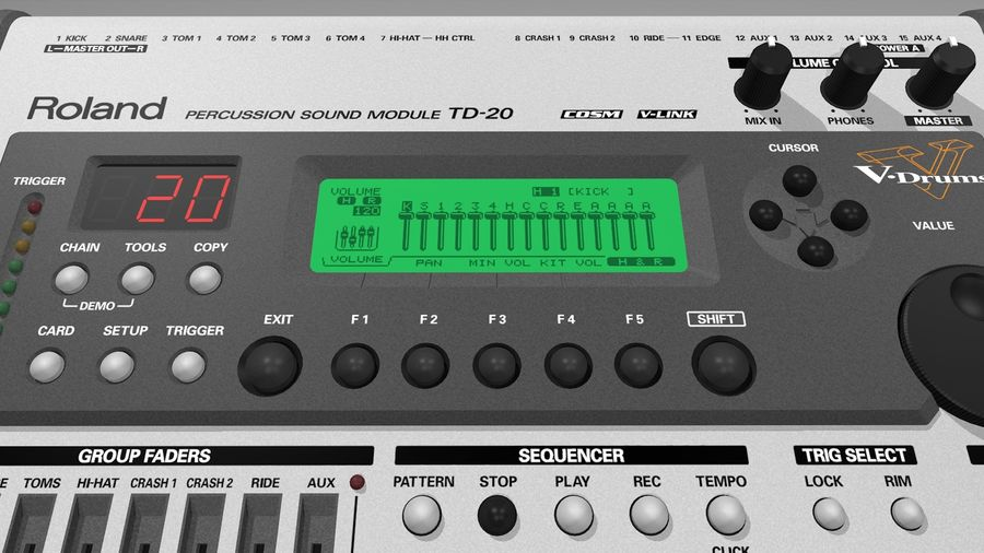 Electronic Drum Kit: Roland V-Drums TD20 royalty-free 3d model - Preview no. 31