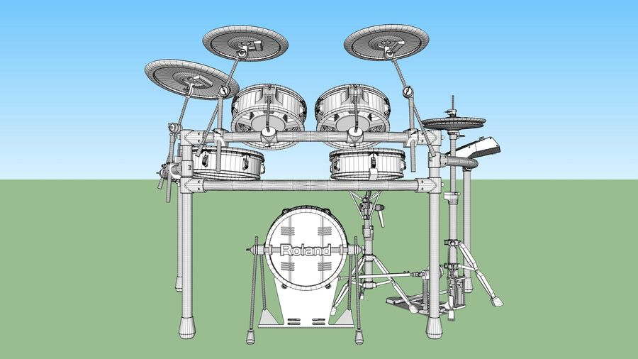 Electronic Drum Kit: Roland V-Drums TD20 royalty-free 3d model - Preview no. 42
