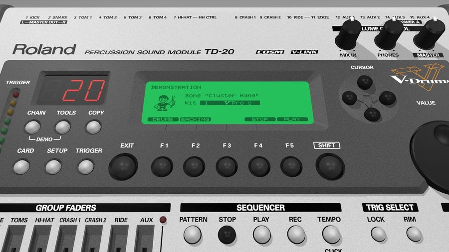 Electronic Drum Kit: Roland V-Drums TD20 royalty-free 3d model - Preview no. 33