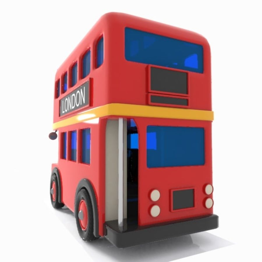 Cartoon Double-Decker Bus royalty-free 3d model - Preview no. 8