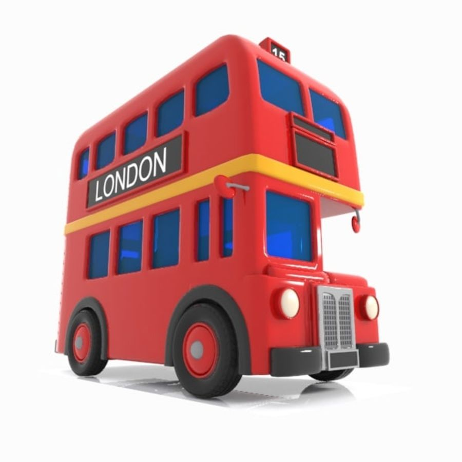 Cartoon Double-Decker Bus royalty-free 3d model - Preview no. 12