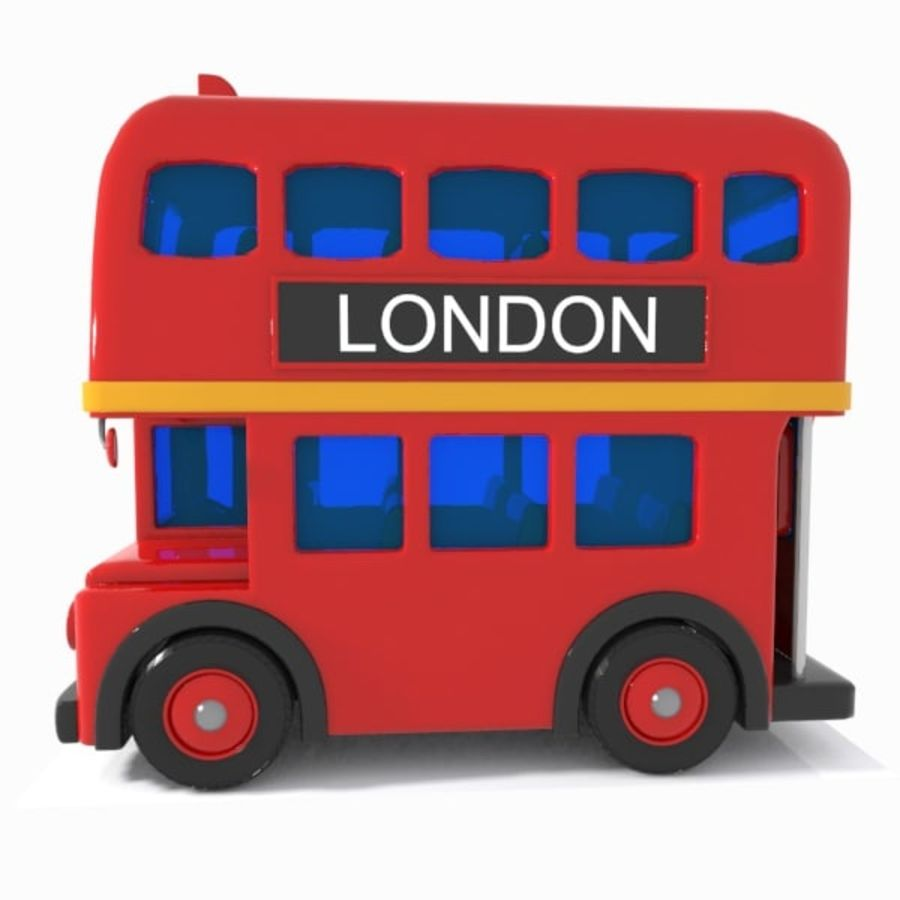 Cartoon Double-Decker Bus royalty-free 3d model - Preview no. 6