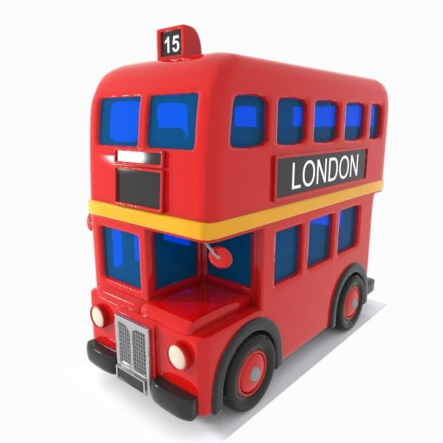 Cartoon Double-Decker Bus royalty-free 3d model - Preview no. 5