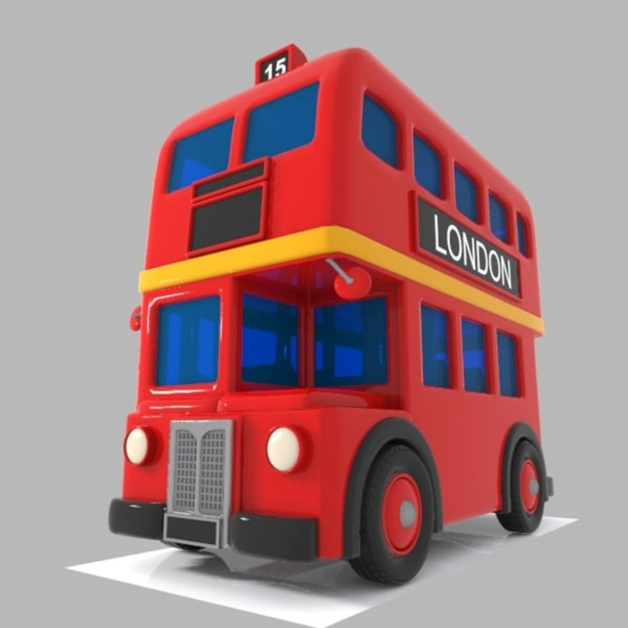Cartoon Double-Decker Bus royalty-free 3d model - Preview no. 2