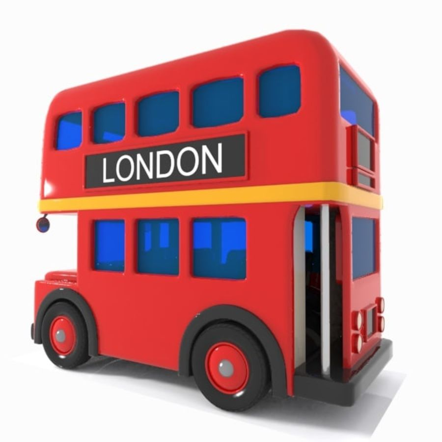 Cartoon Double-Decker Bus royalty-free 3d model - Preview no. 7