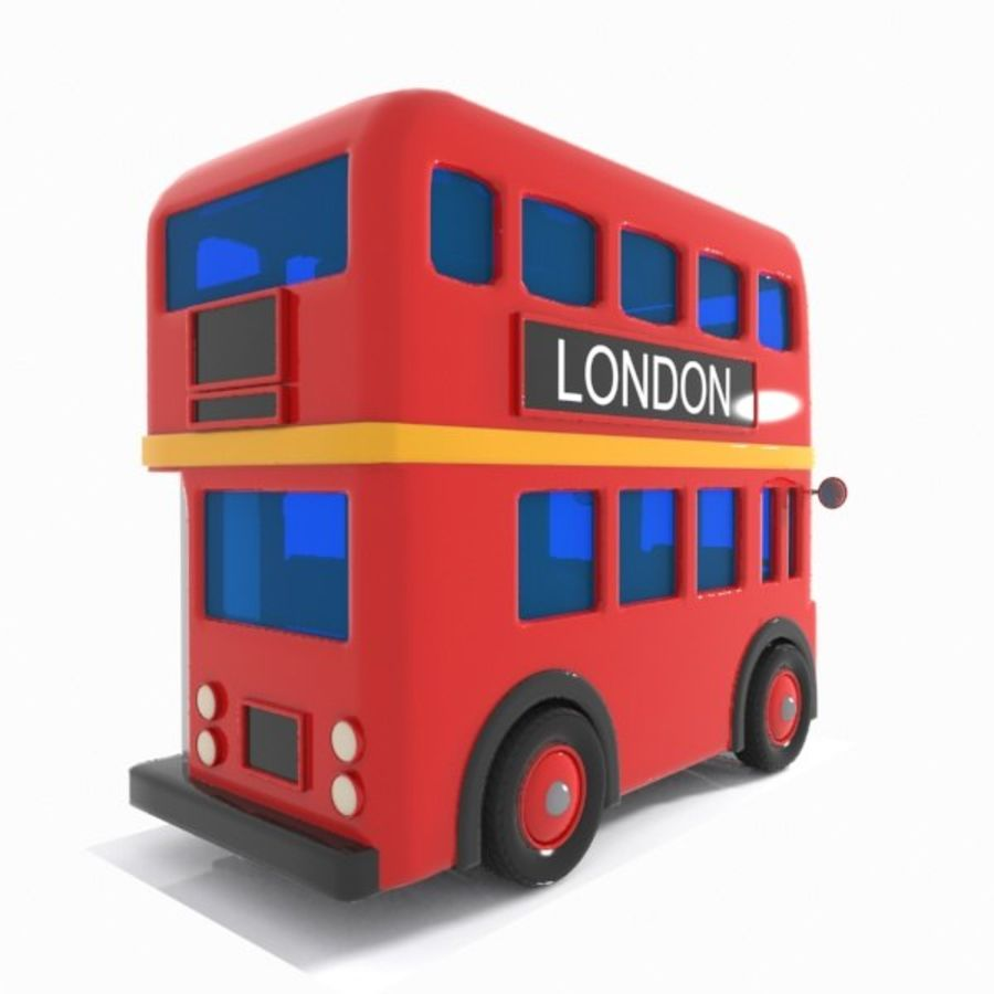 Cartoon Double-Decker Bus royalty-free 3d model - Preview no. 9