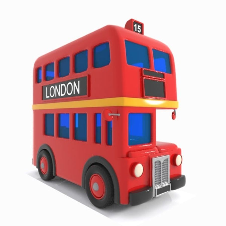 Cartoon Double-Decker Bus royalty-free 3d model - Preview no. 11
