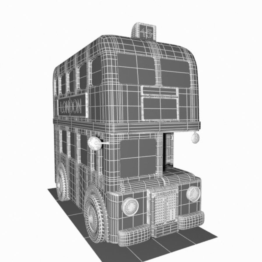 Cartoon Double-Decker Bus royalty-free 3d model - Preview no. 14
