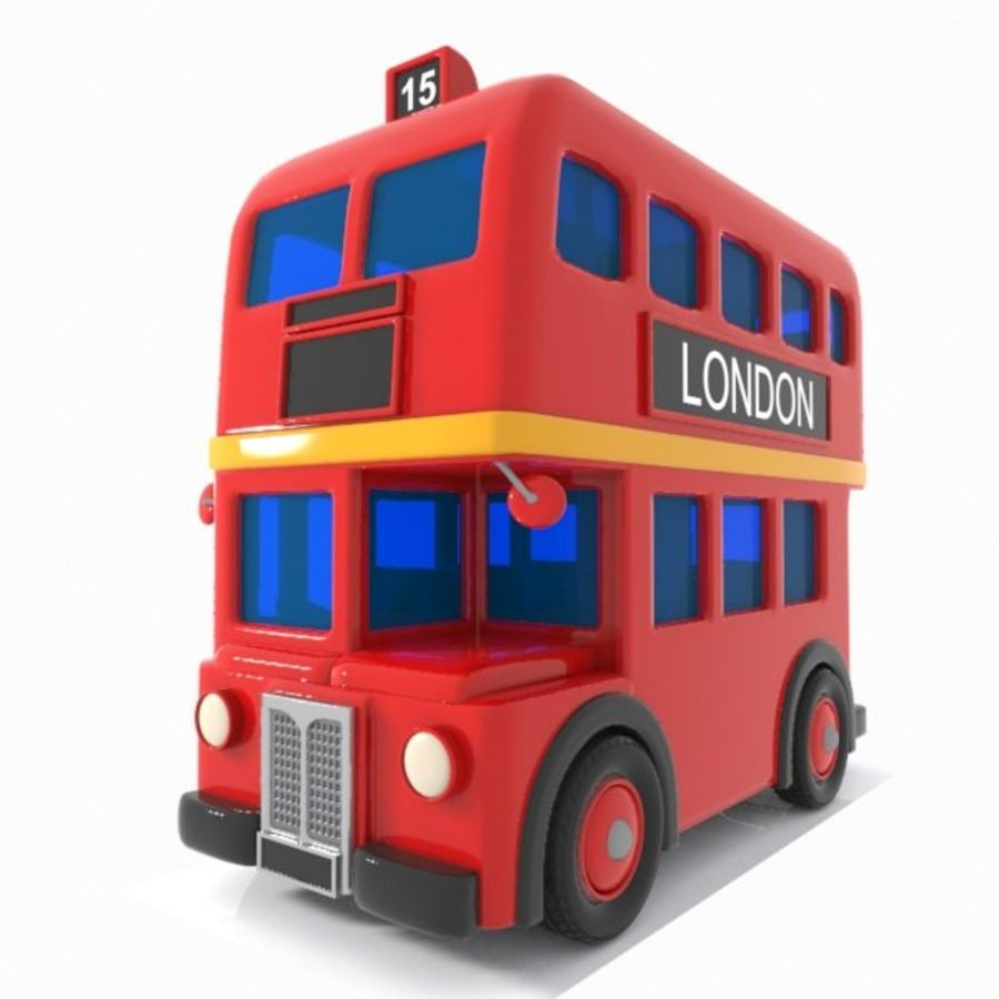 Cartoon Double-Decker Bus royalty-free 3d model - Preview no. 4