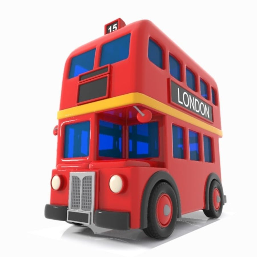 Cartoon Double-Decker Bus royalty-free 3d model - Preview no. 1