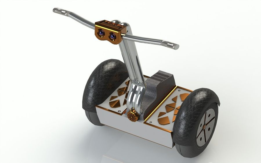 Segway two-wheeled vehicle royalty-free 3d model - Preview no. 2