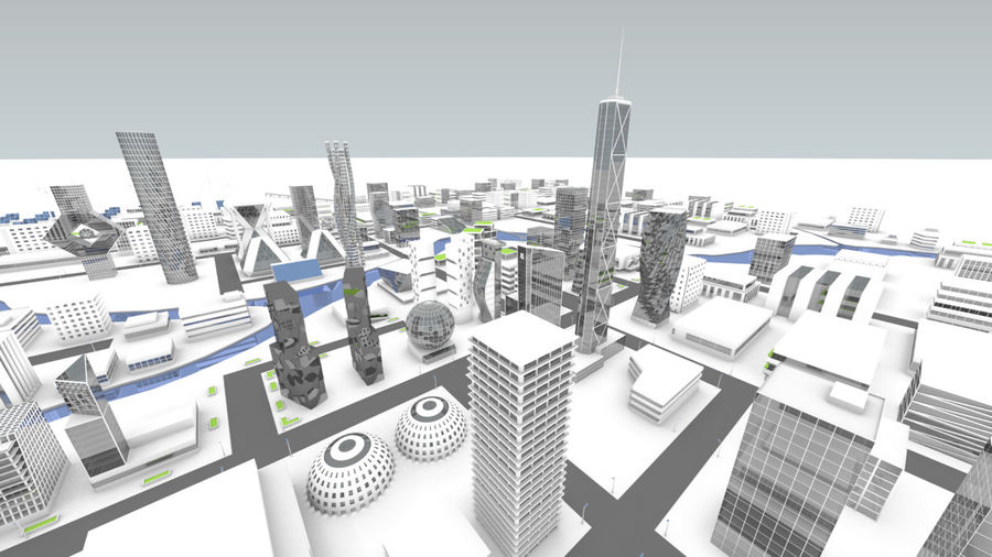 Future city royalty-free 3d model - Preview no. 3