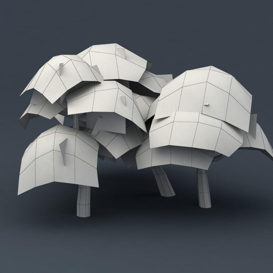 Ensemble d'arbres Sakura Lowpoly royalty-free 3d model - Preview no. 7