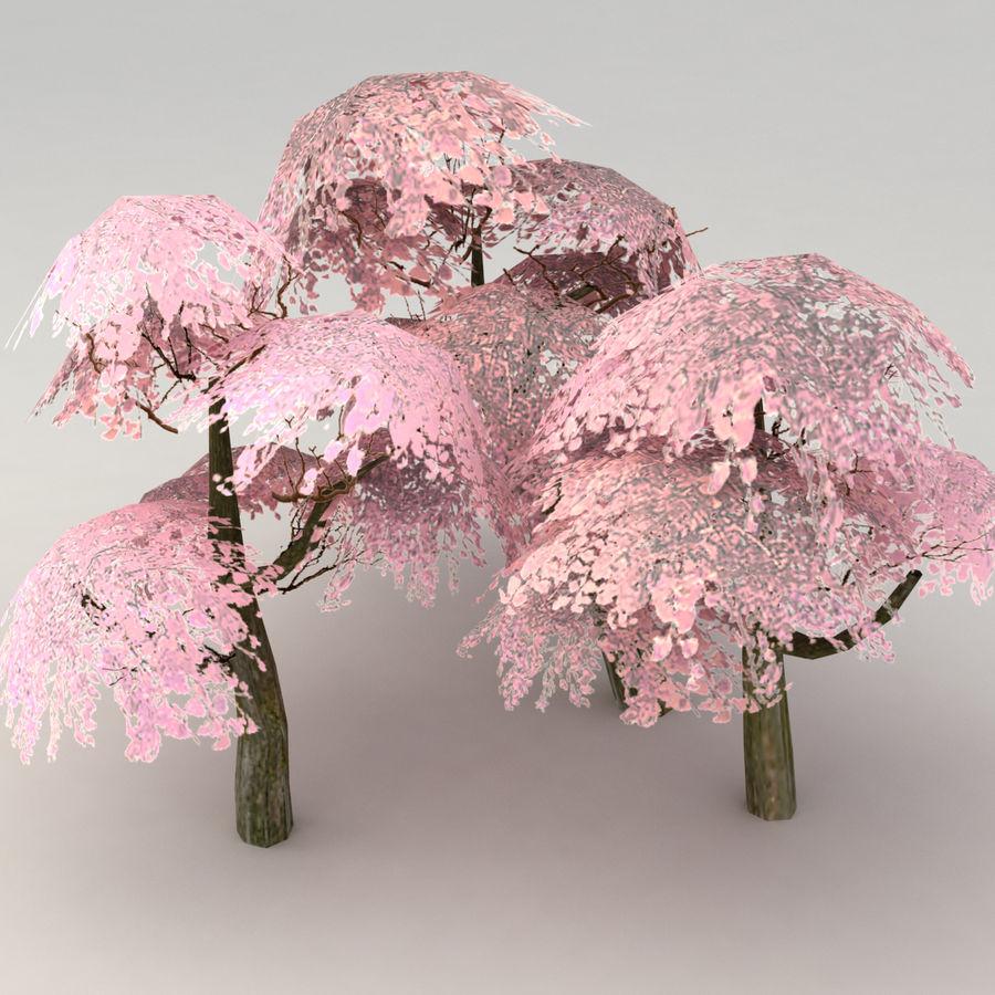Ensemble d'arbres Sakura Lowpoly royalty-free 3d model - Preview no. 4