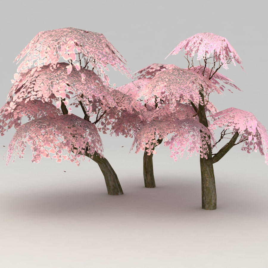 Ensemble d'arbres Sakura Lowpoly royalty-free 3d model - Preview no. 6