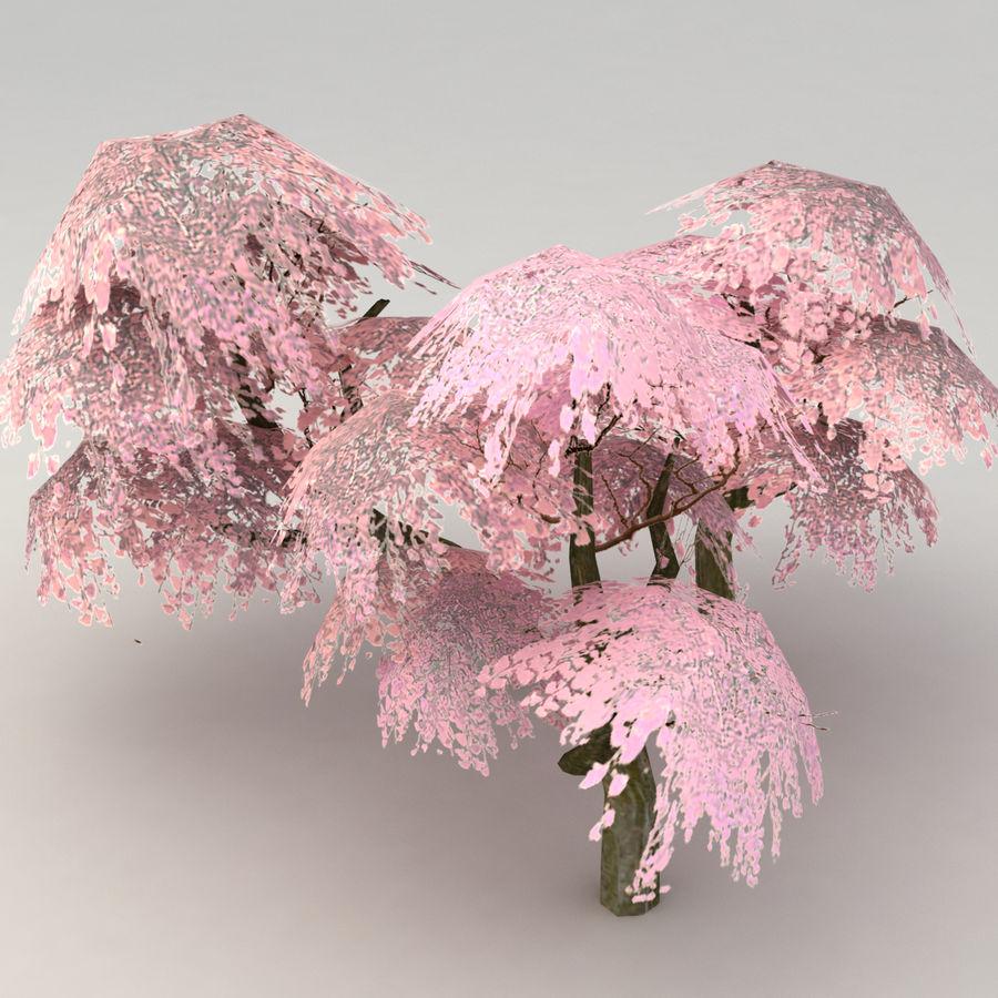 Ensemble d'arbres Sakura Lowpoly royalty-free 3d model - Preview no. 3