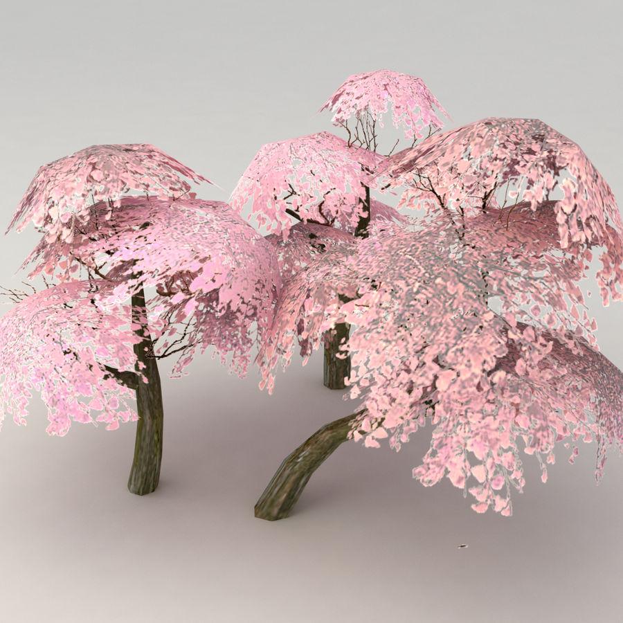 Ensemble d'arbres Sakura Lowpoly royalty-free 3d model - Preview no. 1