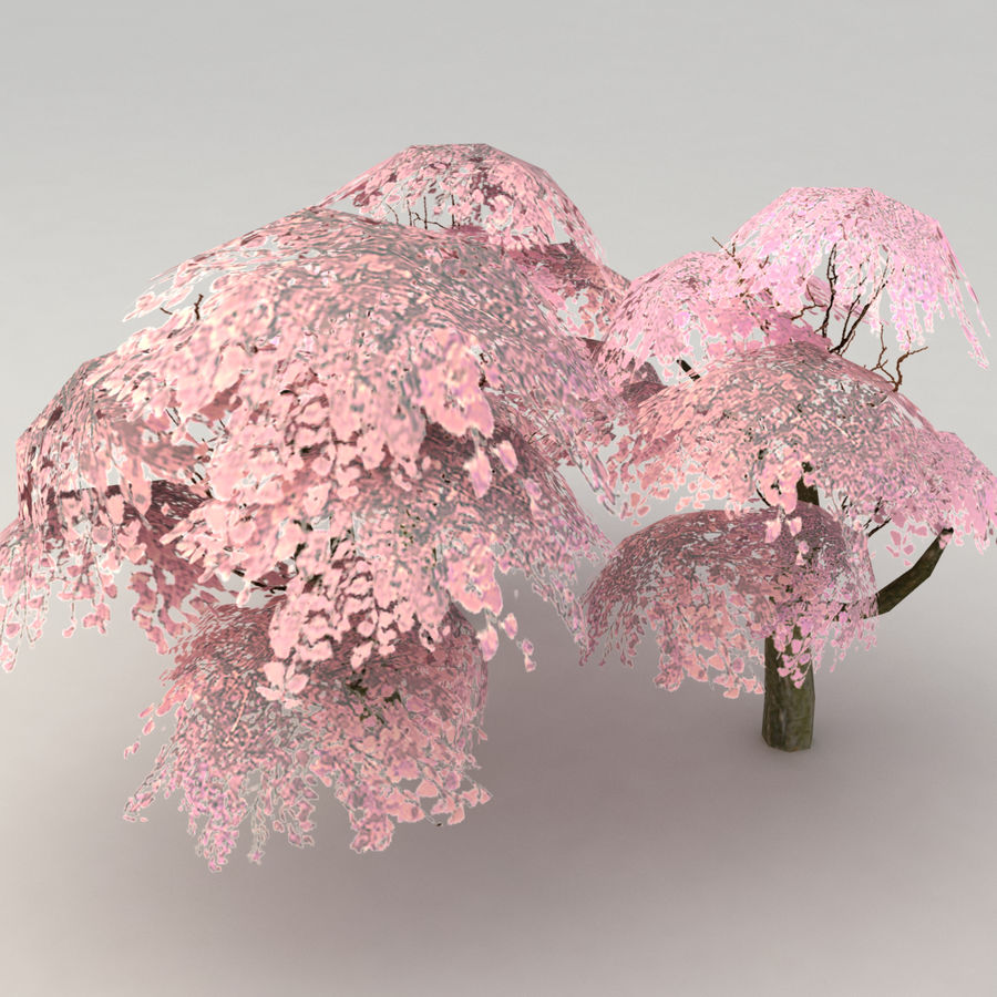 Ensemble d'arbres Sakura Lowpoly royalty-free 3d model - Preview no. 2