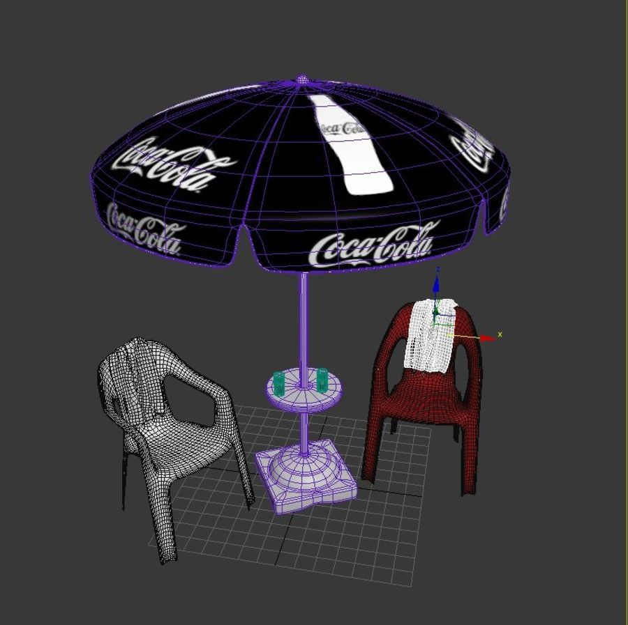 Yard Paraply Med Stolar royalty-free 3d model - Preview no. 9