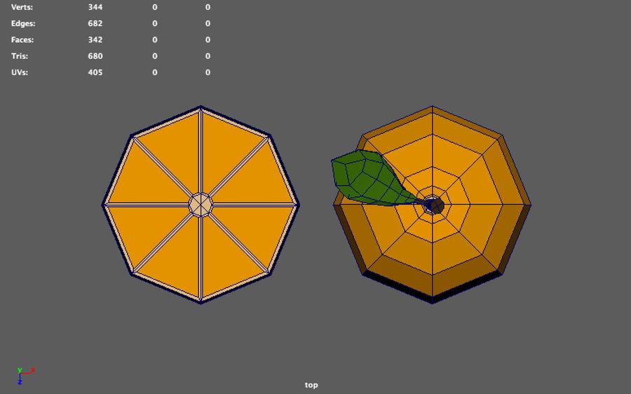 orange basse poly (jeu prêt) royalty-free 3d model - Preview no. 9