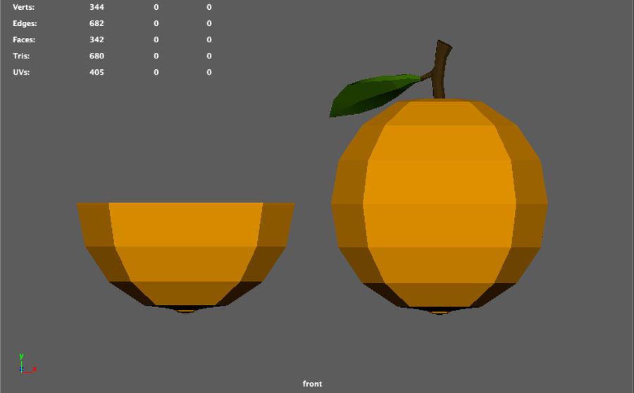 orange basse poly (jeu prêt) royalty-free 3d model - Preview no. 6