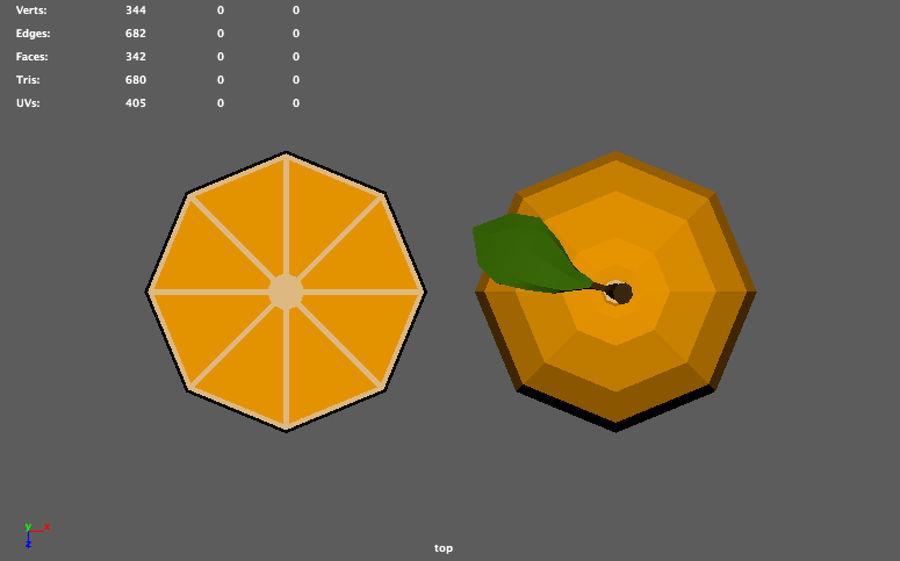 orange basse poly (jeu prêt) royalty-free 3d model - Preview no. 10