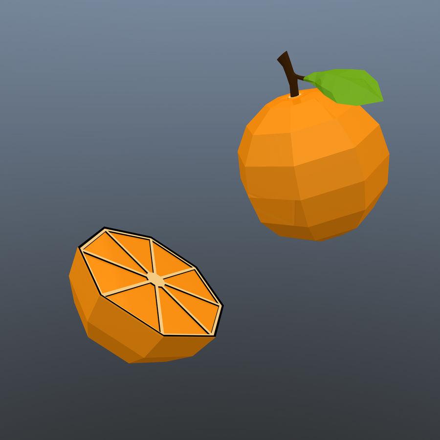 orange basse poly (jeu prêt) royalty-free 3d model - Preview no. 2