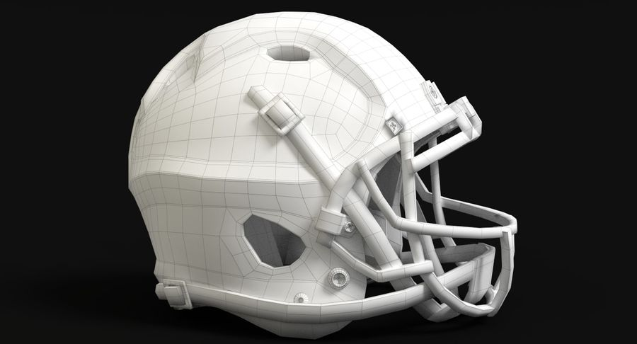 Football helm royalty-free 3d model - Preview no. 12