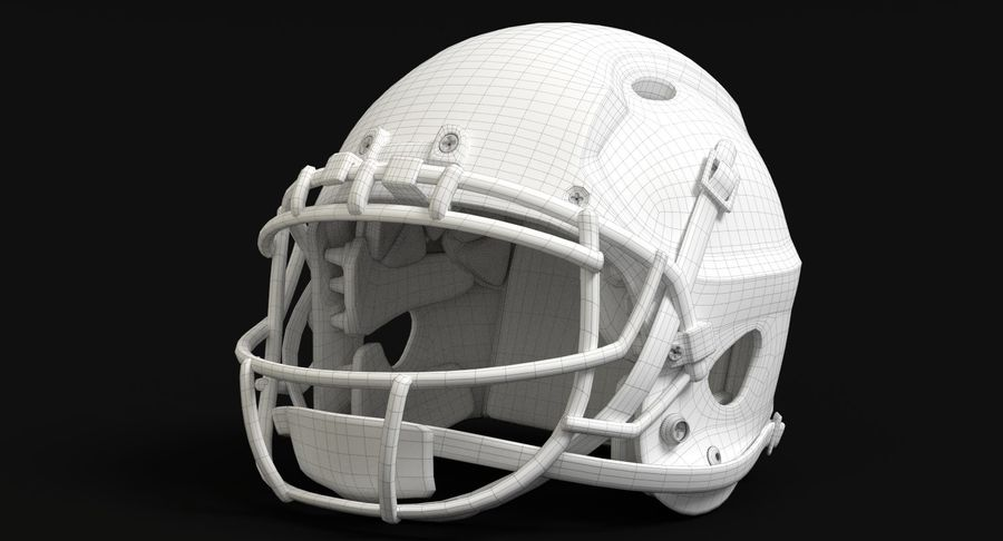 Football helm royalty-free 3d model - Preview no. 15