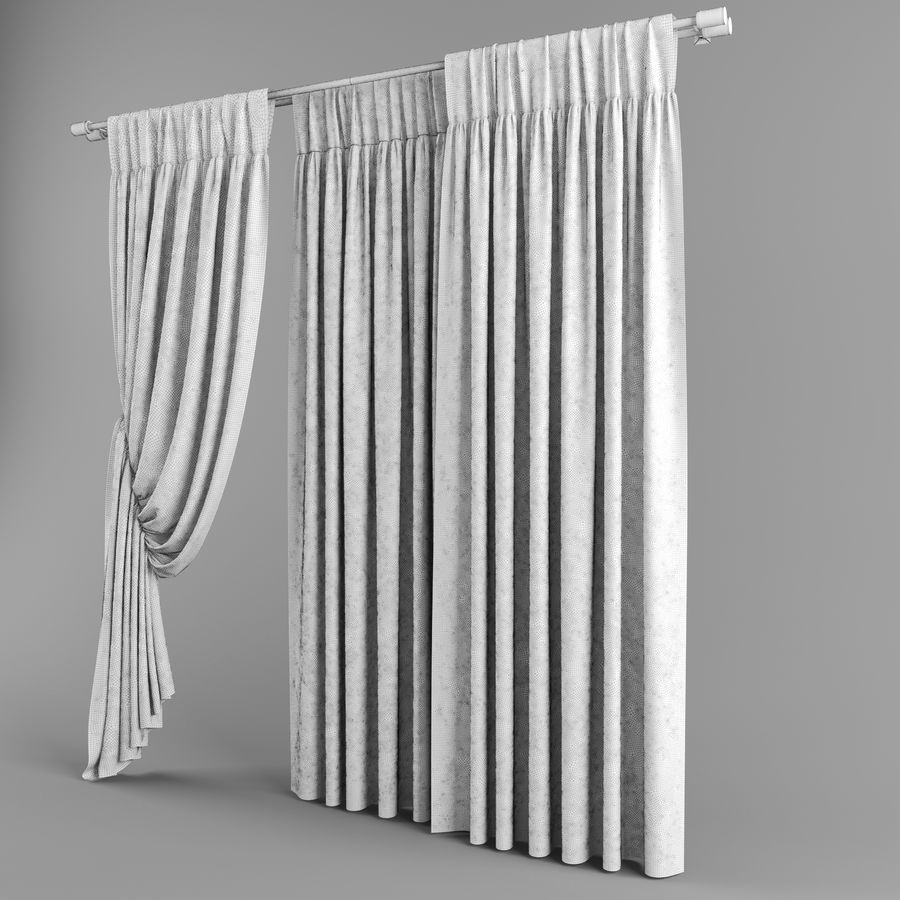 Curtains (tulle)blinds royalty-free 3d model - Preview no. 4