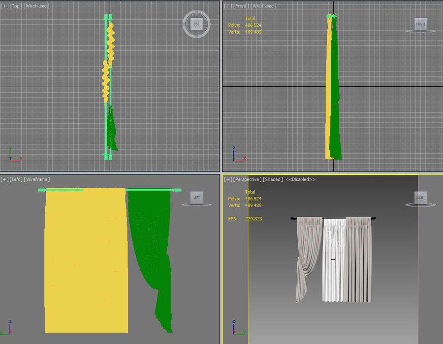 Curtains (tulle)blinds royalty-free 3d model - Preview no. 7