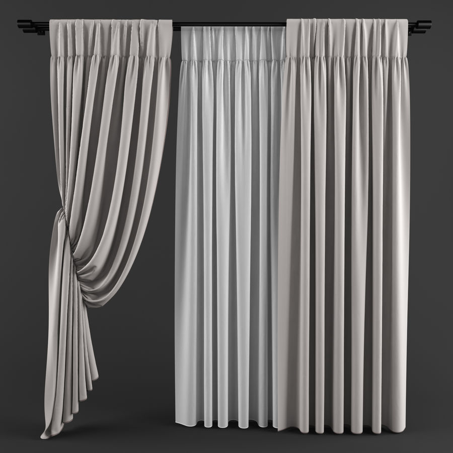 Curtains (tulle)blinds royalty-free 3d model - Preview no. 6