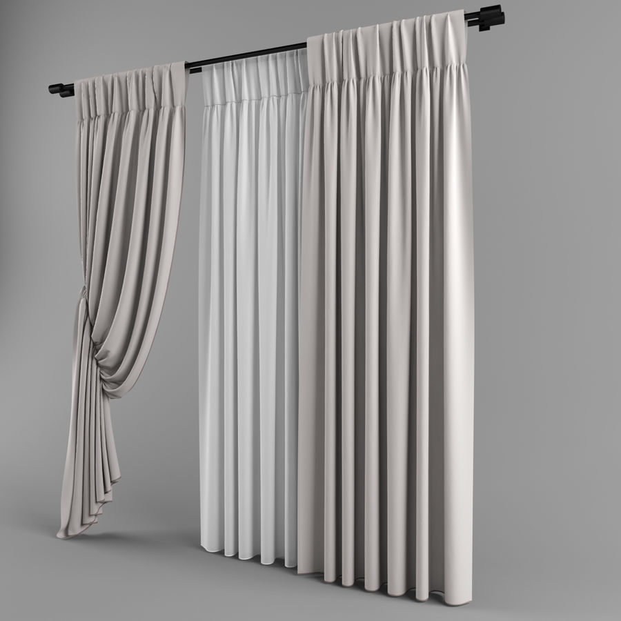 Curtains (tulle)blinds royalty-free 3d model - Preview no. 3