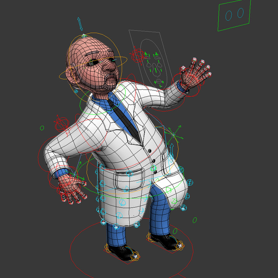 Rigged Cartoon Doctor royalty-free 3d model - Preview no. 5
