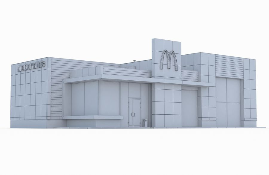 McDonalds restaurant 2 royalty-free 3d model - Preview no. 7