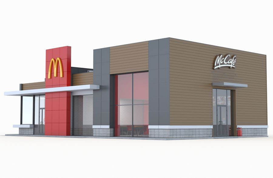 McDonalds restaurant 2 royalty-free 3d model - Preview no. 2