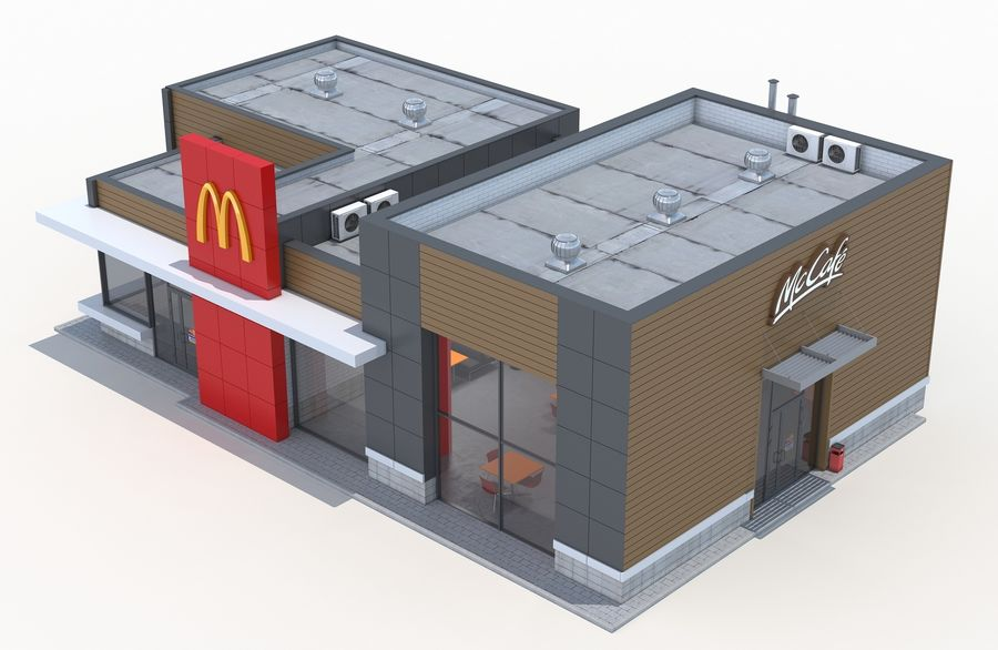 McDonalds restaurant 2 royalty-free 3d model - Preview no. 5