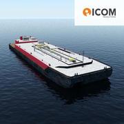 바지선 수송 3d model