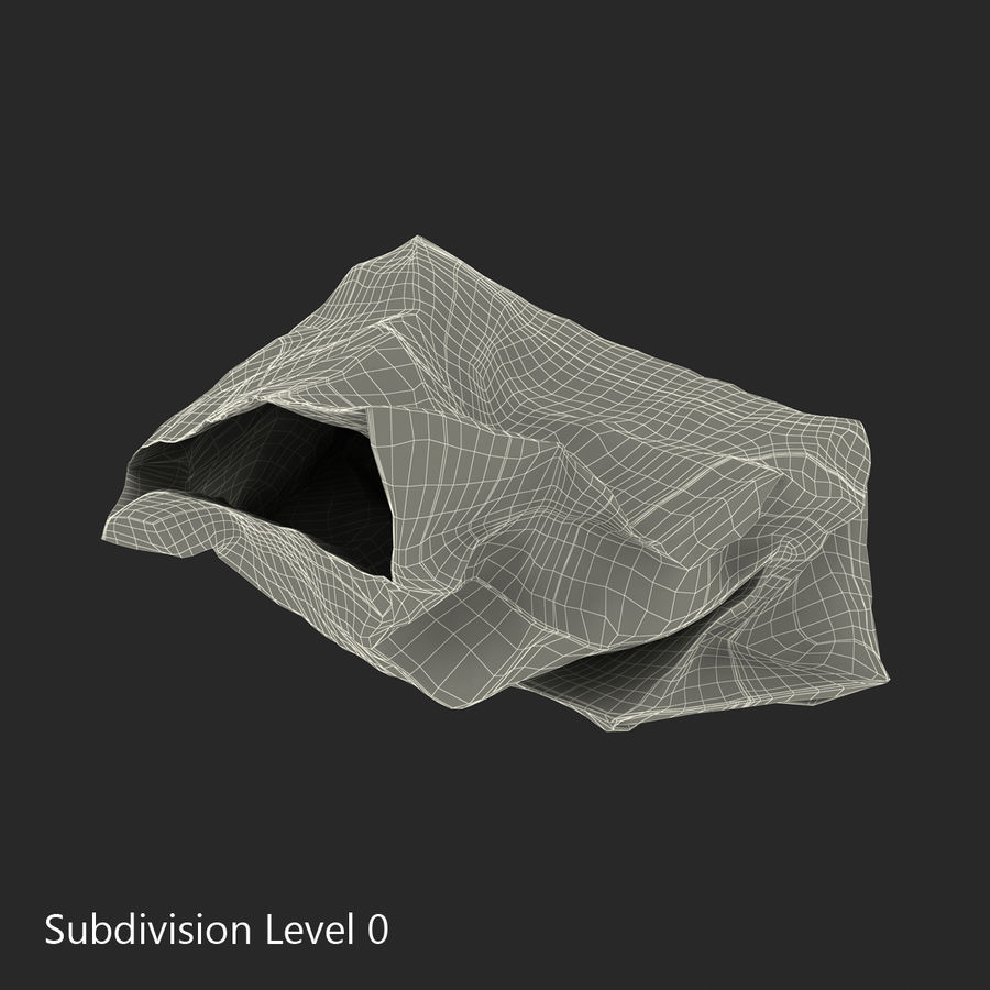 Crumpled Fast Food Paper Bag 2 royalty-free 3d model - Preview no. 17